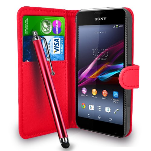 Sony Xperia E1 - Premium-Leder-Geldbörse Flip Hülle Tasche + Touch Pen Stylus + Display Schutzfolie & Poliertuch (Wallet Red)