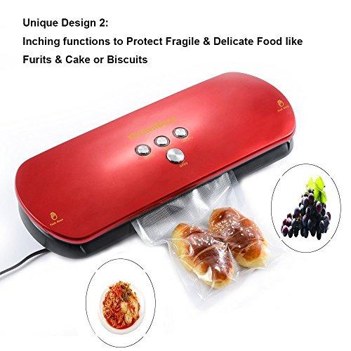 Vakuumierer, KitchenBoss Vakuumiergerät Lebensmittelverpackungsmaschine für Lebensmittel, Fleisch,Früchte, natürliche Aufbewahrung ohne Konservierungsstoffe,Vakuumregulierung,inkl. 5 gratis Profi-Folienbeutel (rote) - 3