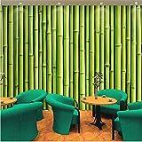 Fushoulu 3D Bambus Grün Große Wandmalerei Tapete Esszimmer Wohnzimmer Hintergrund WandWohnkultur Wandpapierrolle-400X280Cm