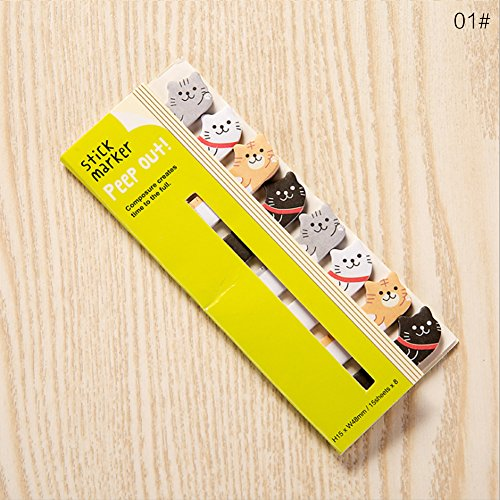 Simpatici animali sticker memo Pad Sticky per appunti appunti segnapagina self-stick Tab Bookmark Marker Pad Cartoon Office School Supplies, 01#, 12.5 * 5cm