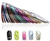 Ice.mask Nail Art Stripes Nail Art Stripes Tape Decorative Strips Paquete DE 10 Rollos de Cinta para marcar en Varios Colores Size 50pcs