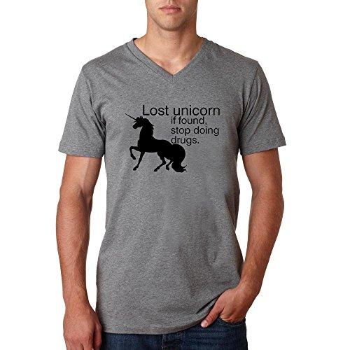 Lost unicorn funny slogan Herren baumvolle V-neck t-shirt Grau