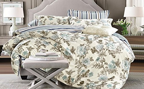 Louisiana Betten Floral Stripe Reversible Bettbezug Set 100% Baumwolle 200 Fadenzahl Multi (200x200 cm + 2 Kissenbezüge 50x75 cm)