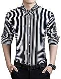Peppyzone Men's Striped Slim Fit Semi Formal Shirt (M, Black)