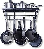 Kitchen Shelf,Kitchen Rack and Pan Rack,Cooker Shelf,With 10 S-shape Hooks,Black