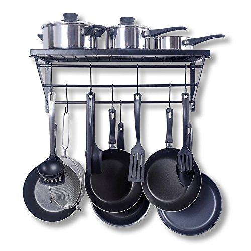 ZPOKA Pfannen-Regal, Küche, Herd-Regal, mit 10 S-förmigen Haken, Metall, Schwarz, 60 x 21 x 30 cm Küche Pfanne