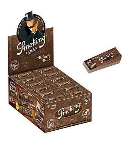Slim - 1 Box mit 24 Rollen - Papers Rolls Brown mit Smoking Heftchen 2 x 33 Filtertips Original® ()