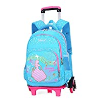 Bansusu Heart Bow Prints Princess Girls Primary School Rolling Trolley Bookbag for Elementary Girls Wheeled Backpack with Six Wheels