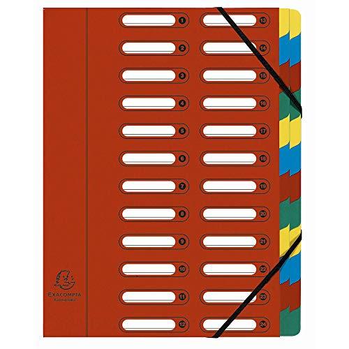 Exacompta 55245E Ordnungsmappe (Harmonika, DIN A4, 24 Fächer, Manila-Karton, Gummizug, Indexfenster) 1 Stück rot