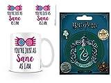 Set: Harry Potter, Du Bist Genauso Gesund Wie Ich, Luna Lovegood Foto-Tasse Kaffeetasse (9x8 cm) Inklusive 1 Harry Potter Poster-Sticker Tattoo Aufkleber (12x10 cm)