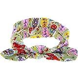 VRTUR Damen Elastische Blume Gedruckt Stirnbänder, 1950 Frauen Baumwolle Gestrickte Verdrehte Weiche Turban-Kopf-Verpackungs