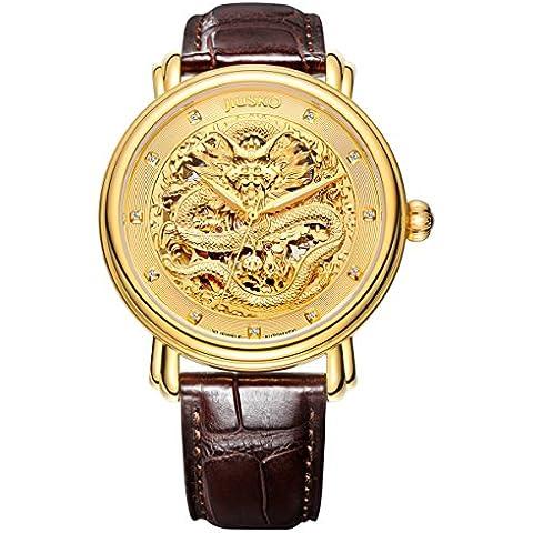 Jiusko 200LG0507 da uomo, in oro a forma di drago cinese da 20, Alligatore Auto-Orologio meccanico, in pelle, colore: marrone