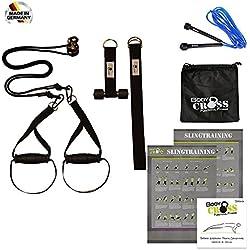 Profi Schlingentrainer mit Umlenkrolle | inkl. Übungsposter, 10-Wochen Trainingsplan, Türanker und Befestigungsschlaufe | Rotate Sling Trainer | HAND Made in Germany