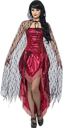Smiffys, Damen Langer Gothic Spitzen Umhang mit Kapuze, One Size, Schwarz, (Ideen Schwarze Kapuzen Cape Kostüm)