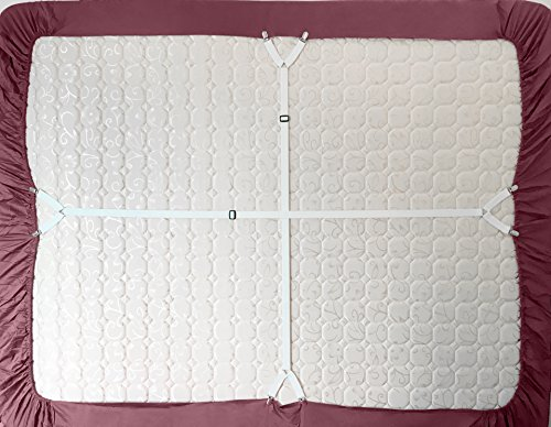 2 Pull Side Adjustable Criss Cross Bed Sheet Holders Fasteners Grippers Clips Suspenders Straps (Pack of 2, in White)