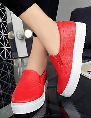ZQ Scarpe Donna-Mocassini-Tempo libero / Casual-Creepers-Plateau-Finta pelle-Nero / Rosso / Bianco , red-us8 / eu39 / uk6 / cn39 , red-us8 / eu39 / uk6 / cn39 red-us6.5-7 / eu37 / uk4.5-5 / cn37