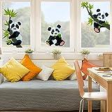Fenstersticker Pandabären Set Kinderzimmer Bär Fenstersticker Fensterfolie Fenstertattoo Fensterbild Fenster-Deko Fensteraufkleber Fensterdekoration Glas-Sticker Größe: 33cm x 50cm