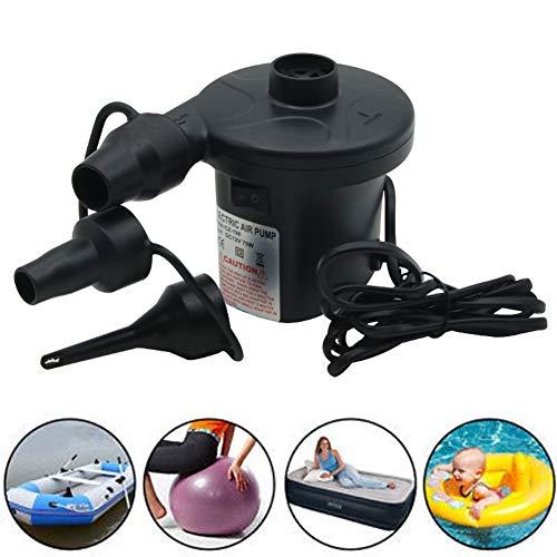 PoeHXtyy Tragbare elektrische Luftpumpe Schnellbefüllbare Luftpumpe mit 3 Düsen für Outdoor Camping Aufblasbare Kissen Schwimmring