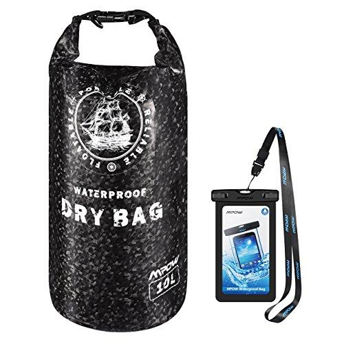 Dry Bag Mpow wasserdichte Tasche, IP66 & 10L trockene Tasche mit IPX8 Wasserdichte Handyhülle, geeignet für Kajakfahren, Strand, Rafting, Bootfahren, Wandern, Camping und Angeln