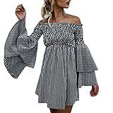 Damenkleider Sommer, Dasongff Damen Langarm Kleid Off Schulter Streifen Vintage Minikleid Mode Kleid Kurz Hemdkleid Blusekleid Trompetenärmel Kleider (XL, Schwarz)