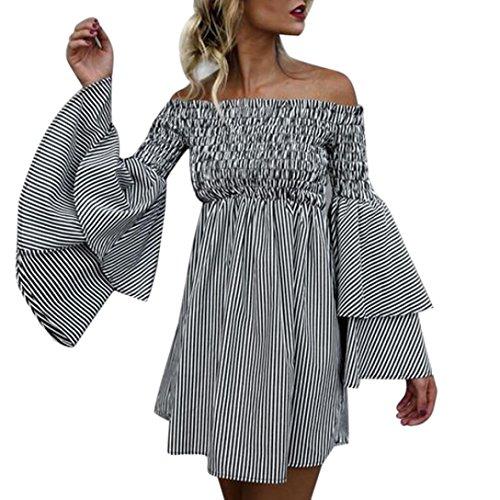 Damenkleider Sommer, Dasongff Damen Langarm Kleid Off Schulter Streifen Vintage Minikleid Mode Kleid Kurz Hemdkleid Blusekleid Trompetenärmel Kleider -