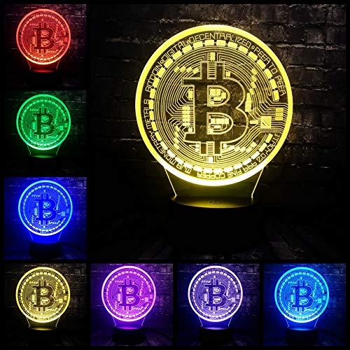 3D Illusion Led 7 Farbwechsel Usb Basis Glanz Acryl Panel Bitcoin Room Decor Nacht Nacht Stimmung Lampe Urlaub Freund Geschenk