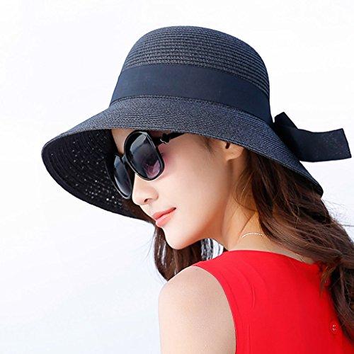 08608bf09c9e8 WQLQL Sombrero de paja de sol de moda Sombrilla de verano femenina  Protector solar Sombrero de paja plegable Viajes Vacaciones P