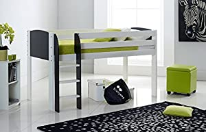 Scallywag Kids Cabin Bed 3FT Wide Shorty - White/Black - Straight Ladder - Made In The UK.