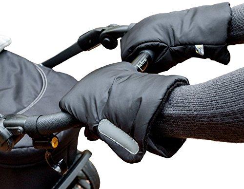 Biddy Kinderwagen Handwärmer I Kinderwagen Handschuhe I Handmuff für Kinderwagen - Kinderwagenmuff mit Reflektor extra warm (schwarz)
