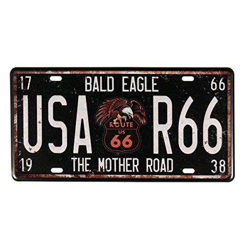 Route 66 (Evilandat Blechschild Metallschild Wandbild Dekoschild Nummernschild Premium Garage Design Bunt Vintage Nostalgie 30,5 x 15,5CM)