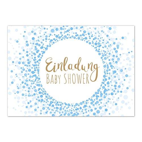 (8 x Einladung Baby Shower Party/Einladungskarten mit Umschlag im Set/Motiv: Moderner Look, blau Junge/Babyparty Karte/Postkarte /)