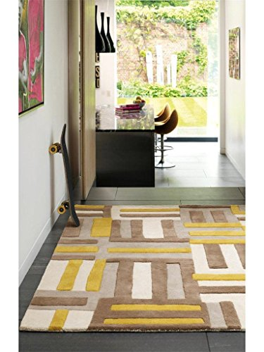 Alfombra salon sala de estar Carpet moderno Design MATRIX CODE GEOMETRIE RUG 100% Lana 160x230 cm Rectangular Gelb | Alfombras barata online comprar