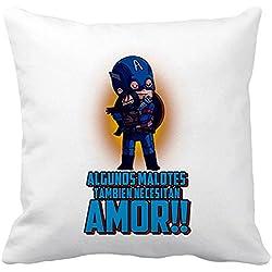 Cojín con relleno Capitán América algunos malotes también necesitan amor - Blanco, 35 x 35 cm