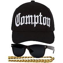 5442da3c8d0cf Gravity Trading Compton 80s - Kit de Disfraz rápido – Gorro Curvado con  Visera + Gafas