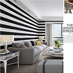Papier Peint Rayé Moderne Style Minimaliste Style Nordique Noir Et Blanc Rayures Verticales Décoration Murale - Design - Peinture Murale - Décoration Murale Salon Chambre Chambre Fond 10 × 0.53m