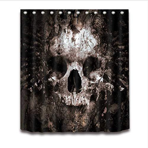 g Scary Rusty Rotten Skull Halloween Wasserdicht Polyester Bad Stoff Für Badewanne Art Decor180 * 200Cm ()
