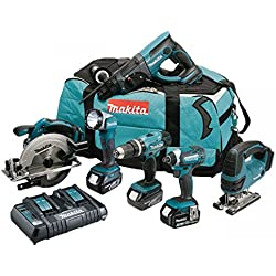 MAKITA Pack 6 machines DLX6068PT avec 3 batteries 18V 5Ah Li-ion, sac de transport et chargeur DC18RD