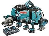 MAKITA Pack 6 machines DLX6068PT avec 3 batteries 18V 5Ah Li-ion, sac de transport et...