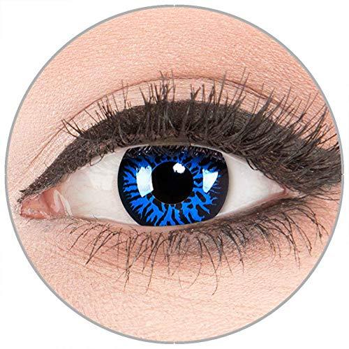 Farbige Kontaktlinsen zu Fasching Karneval Halloween in Topqualität von 'Glamlens' ohne Stärke 1 Paar Crazy Fun blaue schwarze 'Blue Demon' mit Behälter