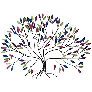 vivid kunstloft metal wall art u0027wild growthu0027 in large handcrafted wall decoration colourful tree with delicate leaves