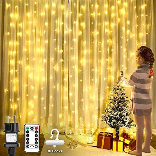 Le led catena di luci in rame per tenda, 3 x 3m 300 led bianco caldo, impermeabile, luci stringa luminosa con 8 modalità di illuminazione funzione timer per decorazioni festive, natale, casa