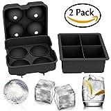 gertong Eis Cube Schimmel Set der 2–Silikon Ice Ball Maker Sphere Runde Eiswürfel und große Platz Ice Cube Schalen, wiederverwendbar und BPA-frei