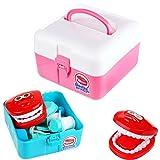 M-import Doctor Play Set - Arztkoffer Doktorkoffer mit 18 Zubehör - Zahnartzt Doktor Arzt Set Kinder Kunstzähne Spielzeug Set Medizin Kasten (Blau)
