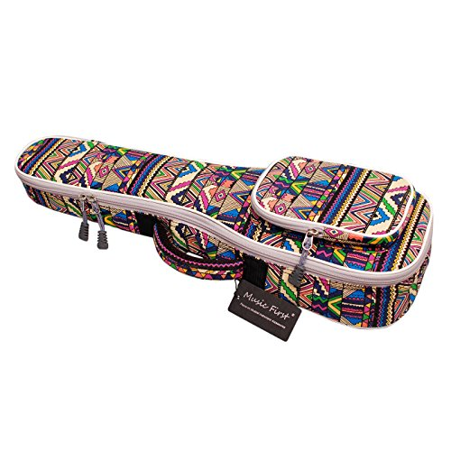 """MUSIC FIRST - borsa/custodia per ukulele, in tela di cotone, con motivi geometrici e tasca anteriore a soffietto 21"""" Soprano"""