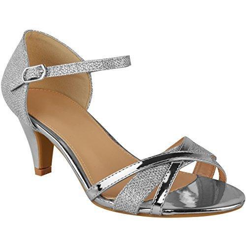Fashion thirsty heelberry womens ladies tacco basso sposa matrimonio argento sandali da cerimonia scarpe con cinturino punta aperta - argento metallizzato, 39