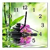 DekoGlas Glasuhr 'Orchidee Spa grün' Uhr aus Acrylglas, eckig große Motiv Wanduhr 30x30 cm, lautlos für Wohnzimmer & Küche