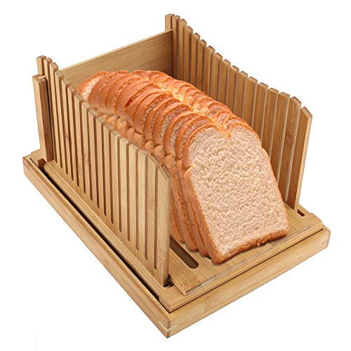 Bambus Brotschneidemaschine, Bambus Brotschneide Brotschneidehilfe Faltbarer Brotschneidebrett mit Krümelfach für geschnittene Brotstücke, für zu hause schlafsaal brotshop, 31,7 * 23,7 * 19 cm (Brot Mit Messer Guide)