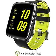 Reloj inteligente actividad rastreador inteligente pulsera impermeable para ejercicio Correr Natación Escalada Ciclismo Gimnasio Fitness y Bluetooth sincronización con todos los IOS y Anroid funda para teléfono, color verde