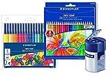 Staedtler Buntstifte Noris Club Set 24 Farben - brillante Farben, leicht zu spitzen; Etui - 144 NC24 (Set Buntstifte + Fasermaler + Anspitzer, sortiert)