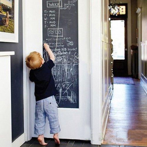 Fancy-fix Tafel-Aufkleber Selbstklebende Tafelfolie Kreidetafel in der Größe 43x200 cm in Schwarz
